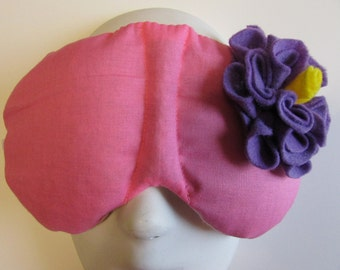 Herbal Hot/Cold Therapy Sleep Mask Rose Pink with Light Purple Felt Flower