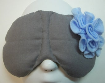 Herbal Hot/Cold Therapy Sleep Mask Gray with Blue Felt Flower