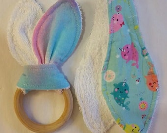 Bunny Ear Teether with Natural Wood Ring Narwhal Set