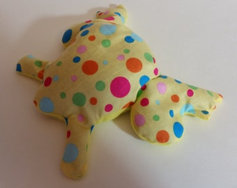 Pain Reliever Hot/ Cold Herbal Therapy Flax Seed filled Froggy Yellow with Multi Polka Dots Print