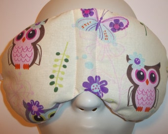 Herbal Hot/Cold Therapy Sleep Mask with adjustable and removable strap Cutie Owls