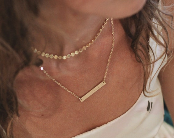 the rainy // skinny gold bar necklace