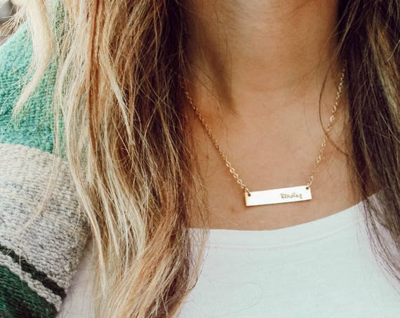 standard gold bar necklace // gold filled  // personalized