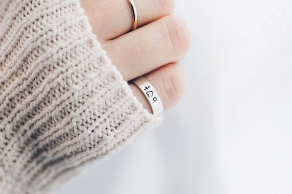 Sterling Silver Ring Square Hand Stamped