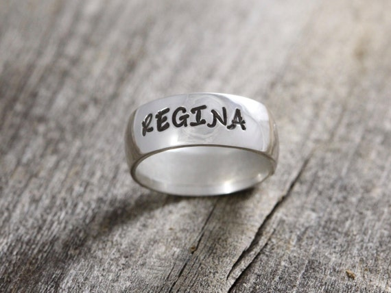 Sterling Silver Hand Stamped Ring // 7mm wide // personalized jewelry // custom name date initials