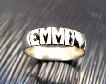 Hand Carved Silver Name Ring - 5mm