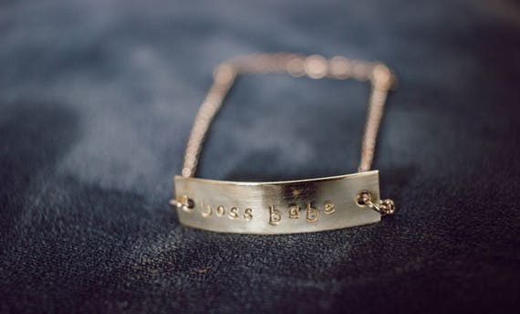 the 5 B's // boss babe brass bar bracelet