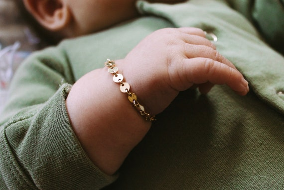 baby dottie bracelet  // 14k gold // custom infant jewelry gold filled toddler child boy girl