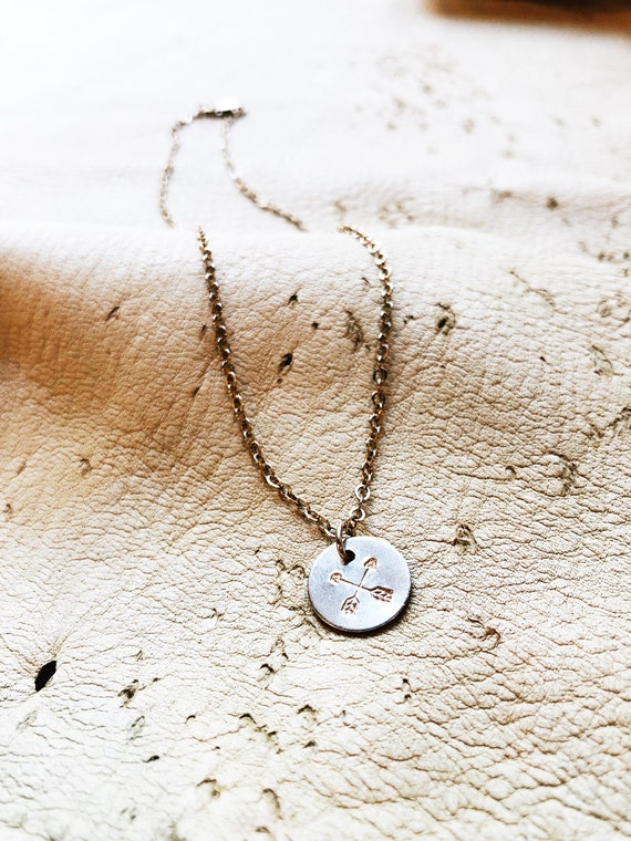 crossed arrows // coin necklace // gold charm