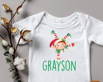 Custom Christmas Onesie®, Cute Christmas Onesie, Custom Name Shirt , Christmas Baby Bodysuit, Personalized Christmas Baby first Christmas