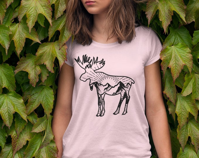 Moose and the mountains Women's CUT T shirt Peach Heather CVC Softstyle Camping Outdoors Scenic View