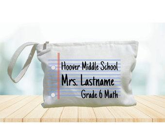 Personalized Teacher Makeup Bag  storage makeup organizer Supplies Pencil pouch purse carry all mask bag Funny cute teacher gift