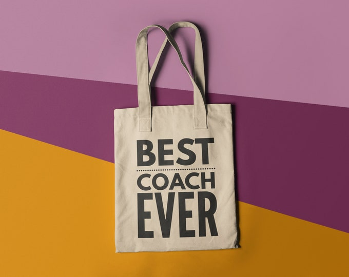 Unisex T Shirt Tote Bag Best Coach Ever Library Book Bag Coach Gift Canvas Bag Library Bag Gussetee shipping