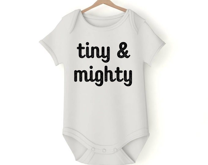 Tiny and mighty Onesie various sizes GerberGift Baby Girl Boy Unisex Shower Neutral