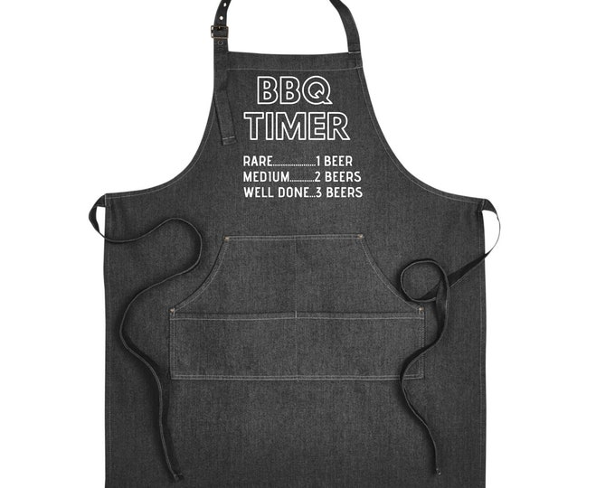 Denim Grill Apron BBQ Timer 1 beer 2 Beers Gift for Grandfather Gift Brother Father For himSmoker Grill BBQ