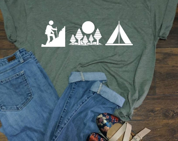 Hike camp forest T-Shirt Unisex fit Tee hiking nature camping tent shirt summer road trip