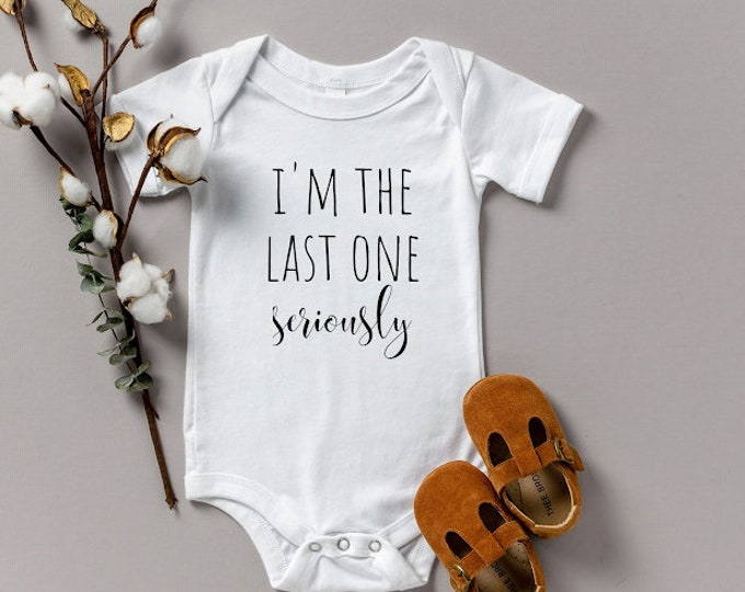 Prenancy Announcement onesie various sizes Gerber this is the last one seriously husband surprise oh baby we're pregnant reveal photo