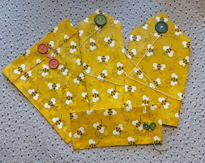 Reusable Sandwich bag set snack bag beeswax bags with closures buttons ties bee print lunch set for kids adult lunch container plastic free