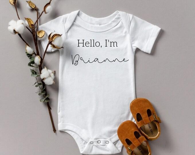 Hello I'm Custom Name Pregnancy reveal various sizes Gerber name announcement reveal onesie Shower gift
