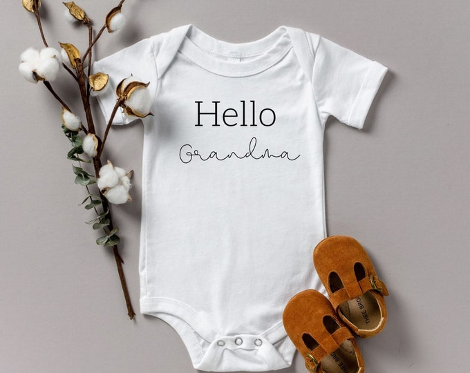Hello Grandma Pregnancy reveal various sizes Gerber name announcement reveal onesie Shower gift
