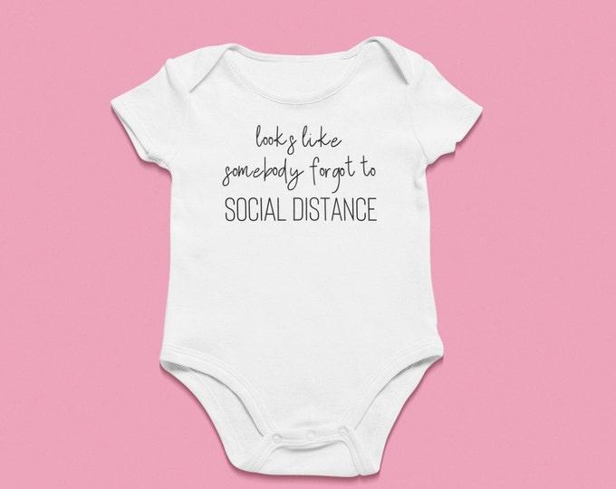 Pregnancy announcement onesie Forgot to social distance quarantine Pandemic Baby Boom 2020 Quarentennial