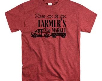 Take me to the Farmer's Market  T Shirt Relaxed Fit Unisex Fit Vegetables Produce vegetarian vegan farm Fruit Fresh