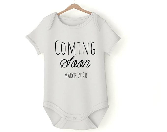 Pregnancy announcement Custom onesie with your text various sizes Gerber onesie custom dateGift Baby Girl Boy Unisex Shower Neutral