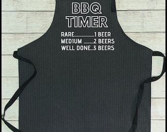 Denim Grill Apron BBQ Timer 1 beer 2 Beers Gift for Husband Grandfather Gift Brother Father For him Smoker Grill BBQ grilling