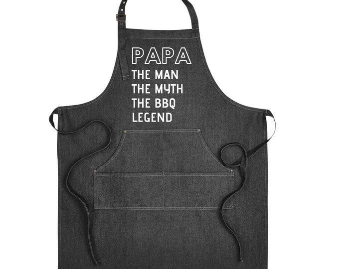 Denim Grill Apron Papa the man the BBQ legend the bad influence Gift for Grandfather Pregnancy announcement reveal Christmas Gift Brother