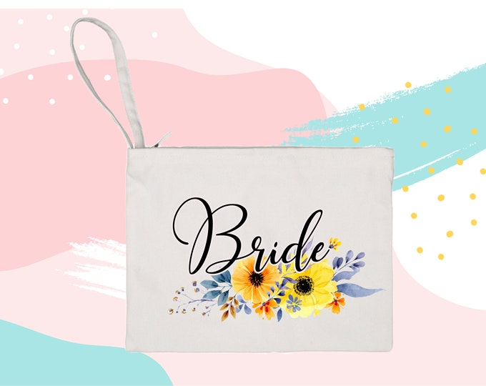 Bride GIFT Floral Makeup Bag cosmetic bag christmas gift gift for bride purse carry all mask bag future Mrs Bride to be gift shower