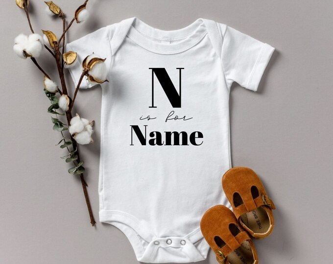 N is for Name various sizes Gerber name announcement reveal onesie Shower gift