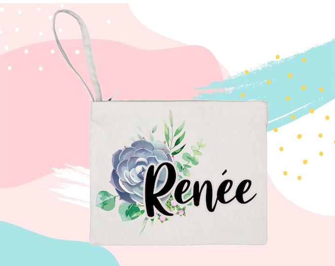Personalized Succulent Bouquet Makeup Bag cosmetic bag storage makeup organizer bath and beauty bag purse carry all mask bag