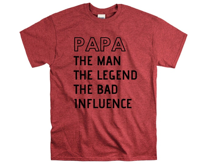 Papa the man myth wallet legend bad influence shirt new papa grandpa announcement gift