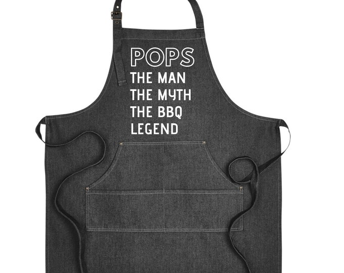 Denim Grill Apron Pops the man the legend the bad influence Gift for Grandfather Pregnancy announcement reveal Christmas Gift Brother