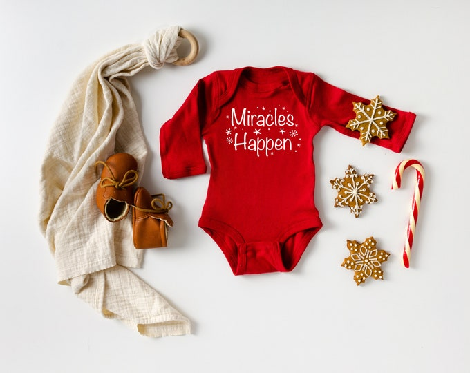 Christmas Miracle's Happen pregnancy announcement bodysuit IVF success Worth the wait Adoption Gift Infertility custom month Red Holiday