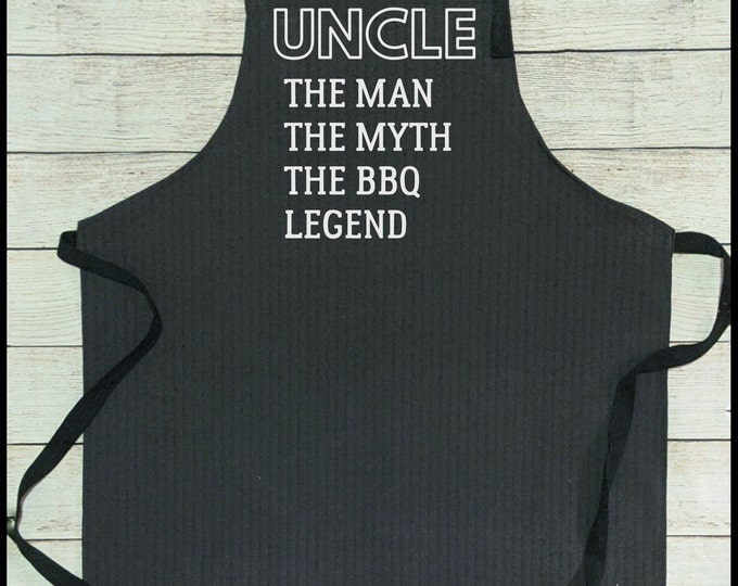 Denim Grill Apron Uncle the man the legend the BBQ Legend Gift for uncle Pregnancy announcement reveal Christmas Gift Brother