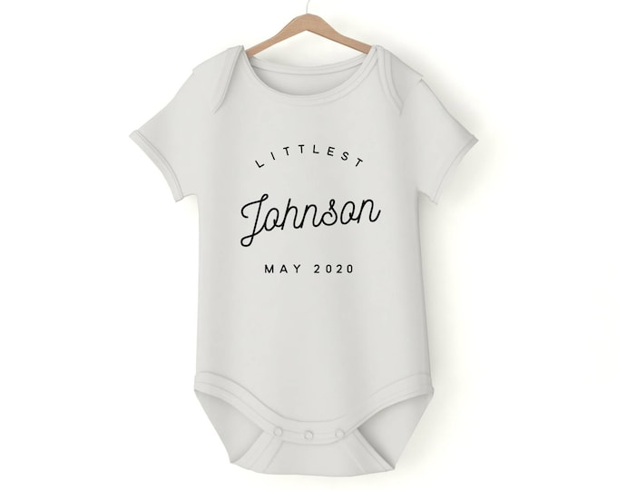 Littlest Name Custom onesie with your text various sizes Gerber onesie custom name prenancy announcement