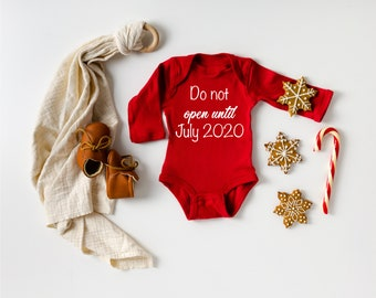 Do not open until pregnancy announcement bodysuit Christmas Adoption Gift custom month Red Holiday