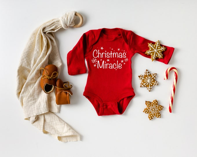 Christmas Miracle pregnancy announcement bodysuit Christmas IVF success Worth the wait Adoption Gift Infertility custom month Red Holiday