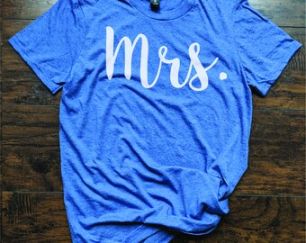 T shirt for Bride Mrs Future Mrs. Shirt Bride Shirt Wedding Honey Moon Getting Hitched Tee Coral Peach Blue Green