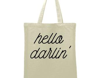 Hello Darlin' Bag Teacher Gift  Custom teacher name Tote Bag Library Book Bag Canvas Bag Library Bag Market Bag Reusable Shopping Tote
