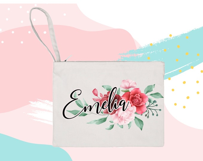Personalized Floral Makeup Bag cosmetic bag christmas gift storage makeup organizer bath and beauty bag purse carry all mask bag