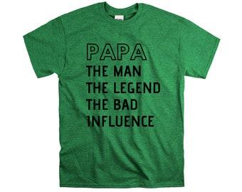 Papa the man myth wallet legend bad influence shirt new papa grandpa announcement gift