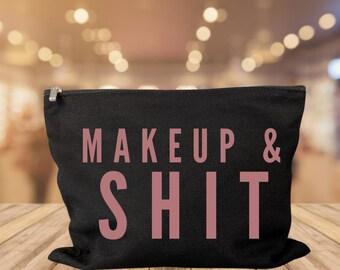 Makeup & Shit makeup bag cosmetic bag storage makeup organizer bath and beauty bag purse carry all makeup and shit