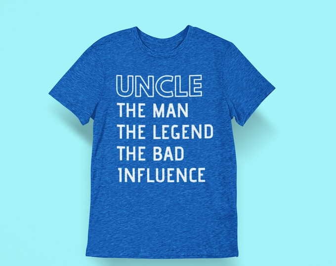 Uncle est 2020 promoted man myth wallet legend bad influence shirt gift step brother new uncle announcement gift
