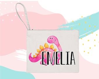 Personalized Dinosaur Bag makeup bag cosmetic bag storage makeup organizer bath and beauty bag purse carry all mask bag kid at heart