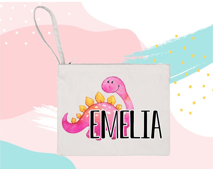 Personalized Dinosaur Bag makeup bag cosmetic bag storage makeup organizer bath and beauty bag purse carry all mask bag kid at heart