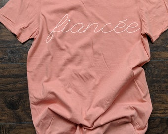 T shirt for Fiance'e Female spelling  Bride Mrs Future Mrs. Shirt Bride Shirt Wedding Honey Moon Getting Hitched Tee Coral Peach Blue Green