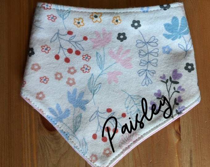 Handmade baby bandana bib Custom name