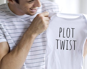Prenancy Announcement onesie various sizes Gerber Plot twist husband surprise oh baby we're pregnant to dad